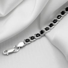 Срібна цепочка - Бісмарк арабський з чорним  камінням, ширина 5мм