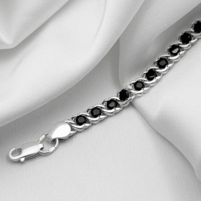 Серебряная цепочка - Бисмарк арабский с черными камнями, ширина 5мм