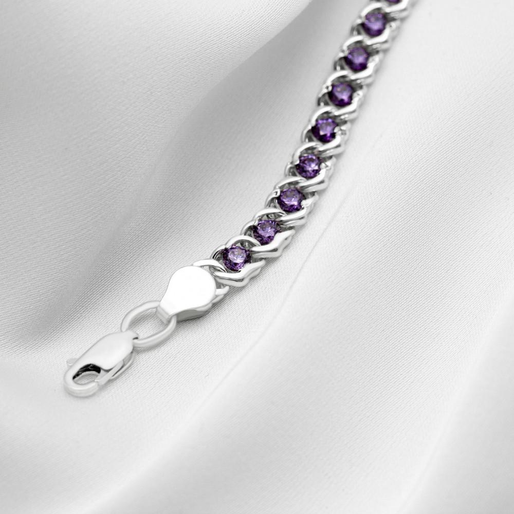 Срібна цепочка - Бісмарк арабський з фіолетовим  камінням, ширина 5мм