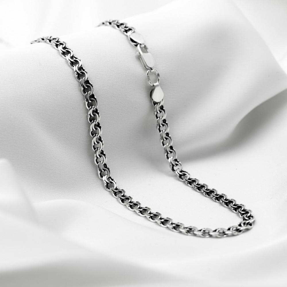 Срібна цепочка - Бісмарк плоский, ширина 5мм, чорнена