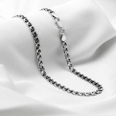 Серебряная цепочка - Бисмарк плоский, ширина 3мм, черненая