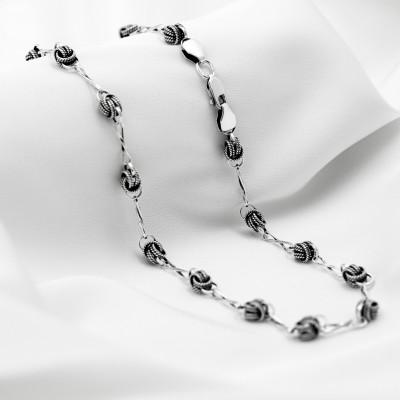 Серебряная цепочка - Орех с восьмерками, черненая.