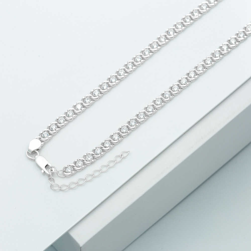 Срібна цепочка - Бісмарк арабський з камінням, ширина 5мм