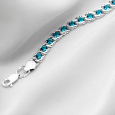 Срібна цепочка - Бісмарк арабський з блакитним  камінням, ширина 5мм