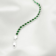 Срібна цепочка - Бісмарк арабський з зеленим камінням, ширина 5мм