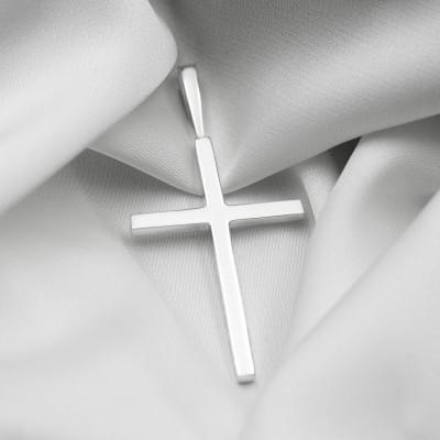 Срібний хрестик - Гладкий великий