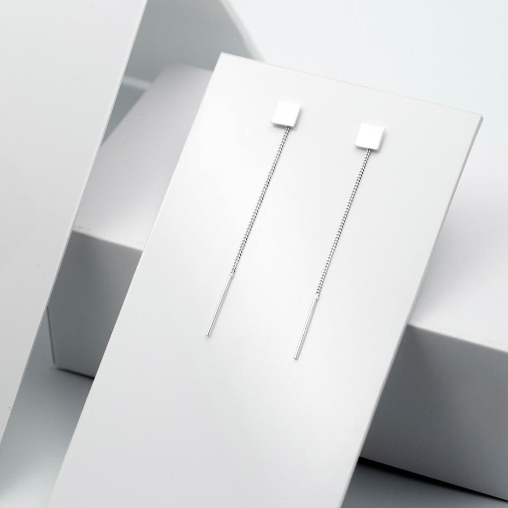 Срібні сережки - Квадрат