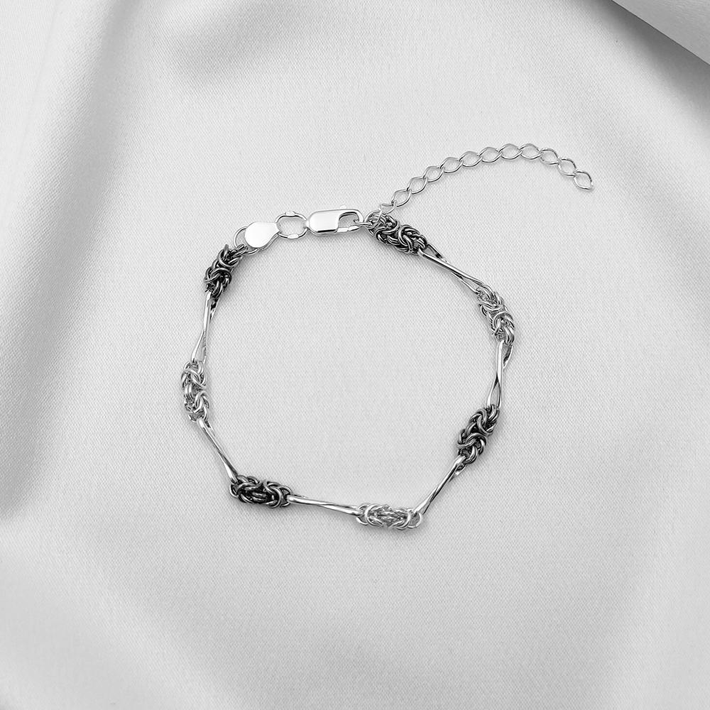 Серебряный браслет - Мальвина с восьмерками, черненая
