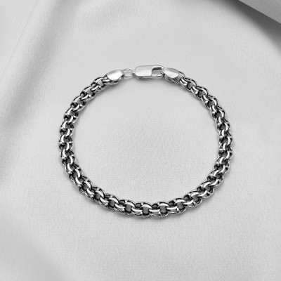 Срібний браслет - Бісмарк круглий, ширина 8мм, чорнений