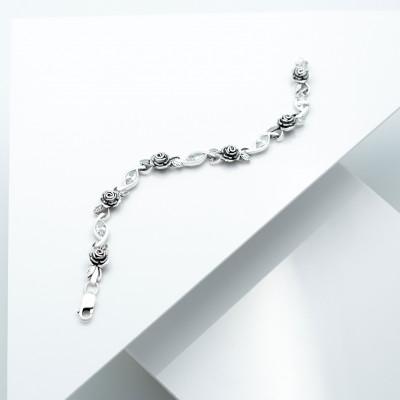 Срібний браслет - Троянда